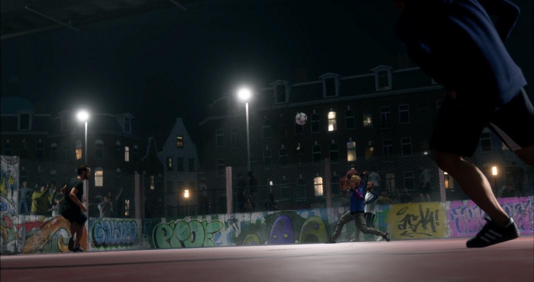 Urban night football scene