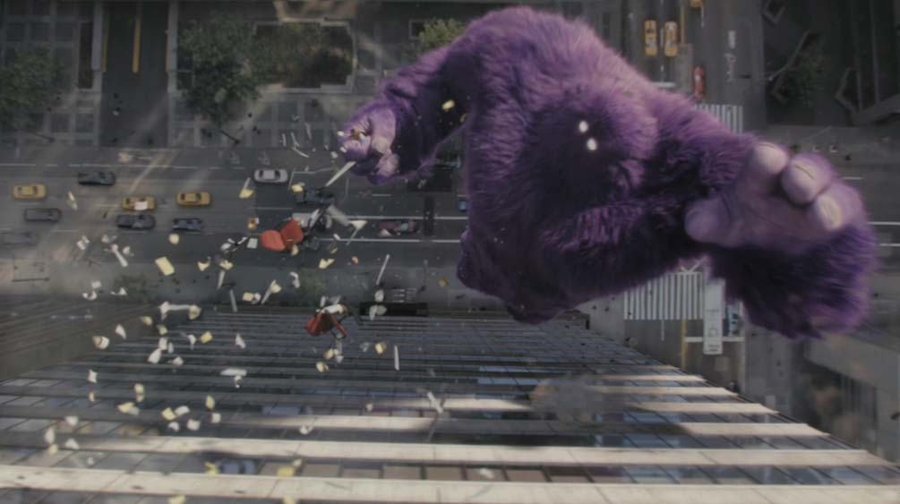 CGI VFX Monster falling from building
