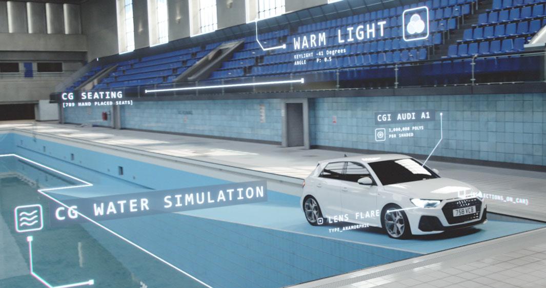 Audi 'Synchronised Swim' Lighting and CGI Adui A1