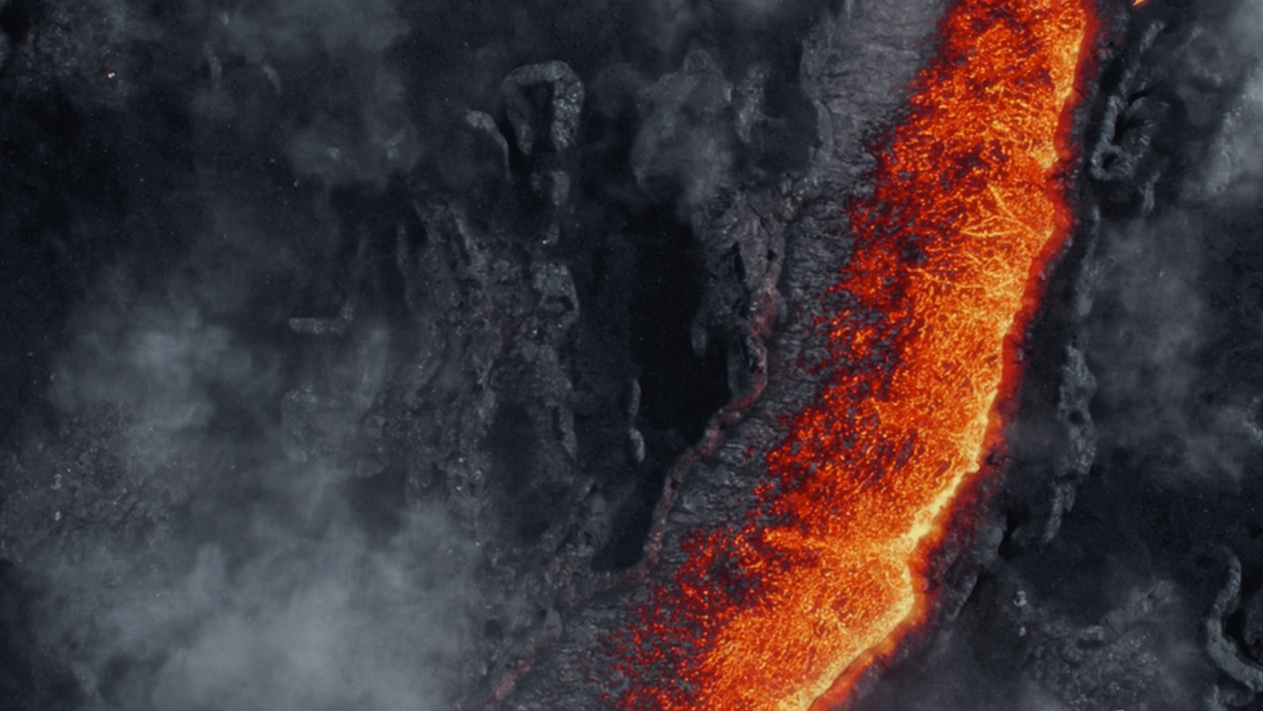Smoke clearing, lava and mountains VFX