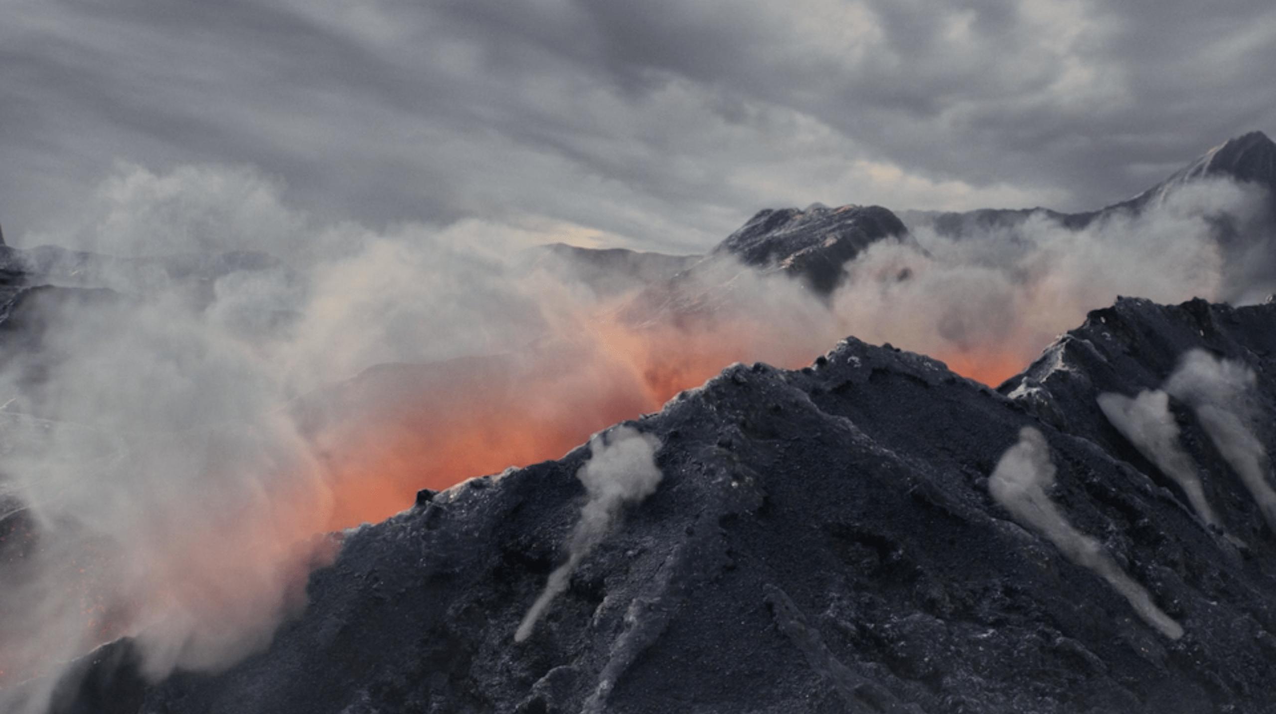 Smoking mountain with Lava VFX