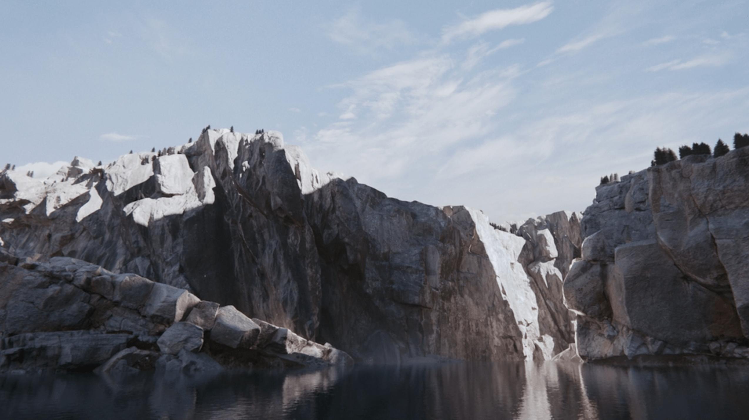 River cliffs and light CGI
