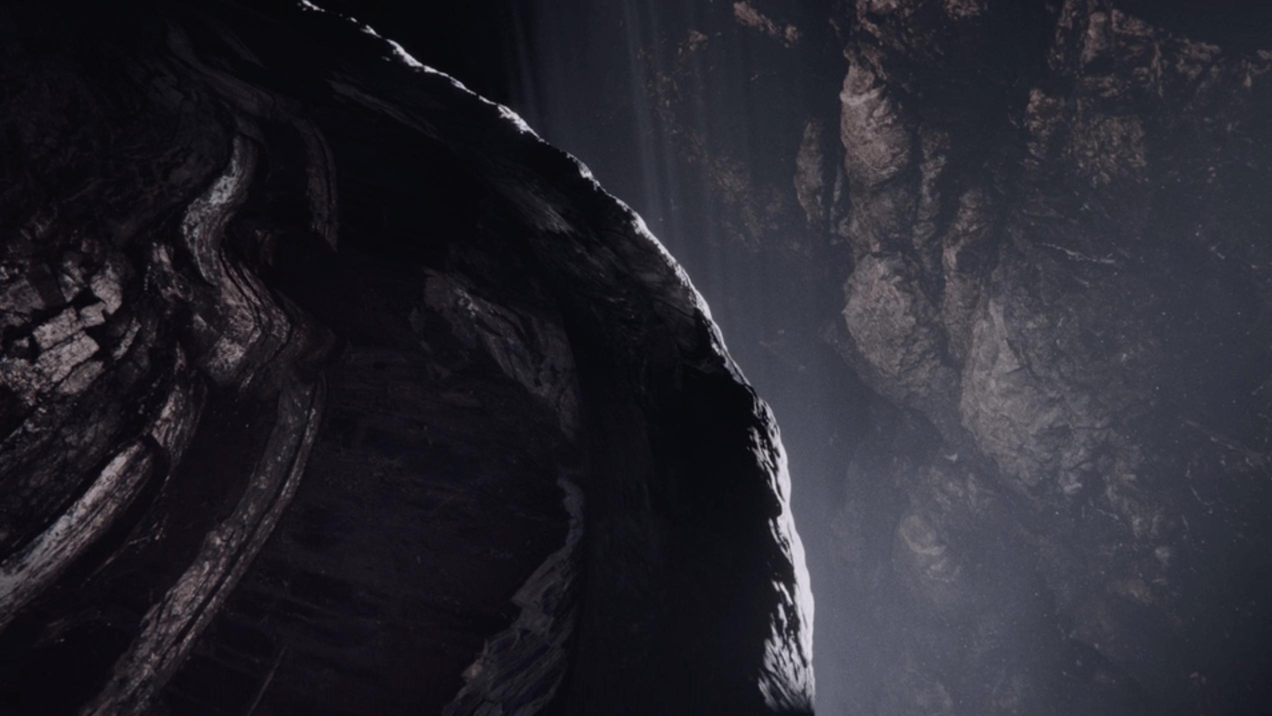VFX dark cliffs revealing light