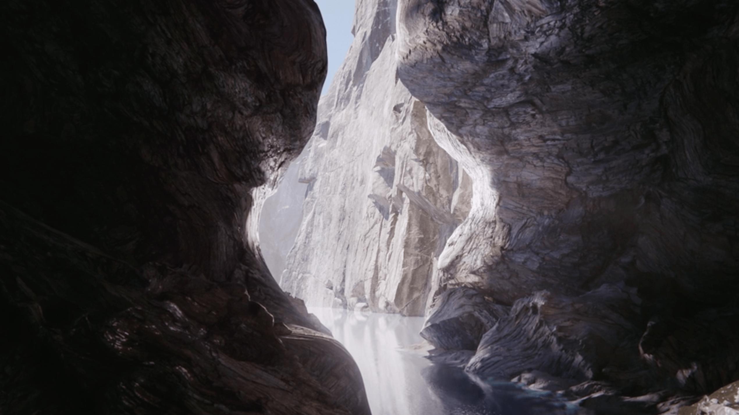 Deep dark gorge illuminating representing honesty and transparency VFX