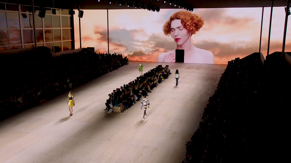 Unity and Unreal Engine virtual production showcasing a virtual catwalk