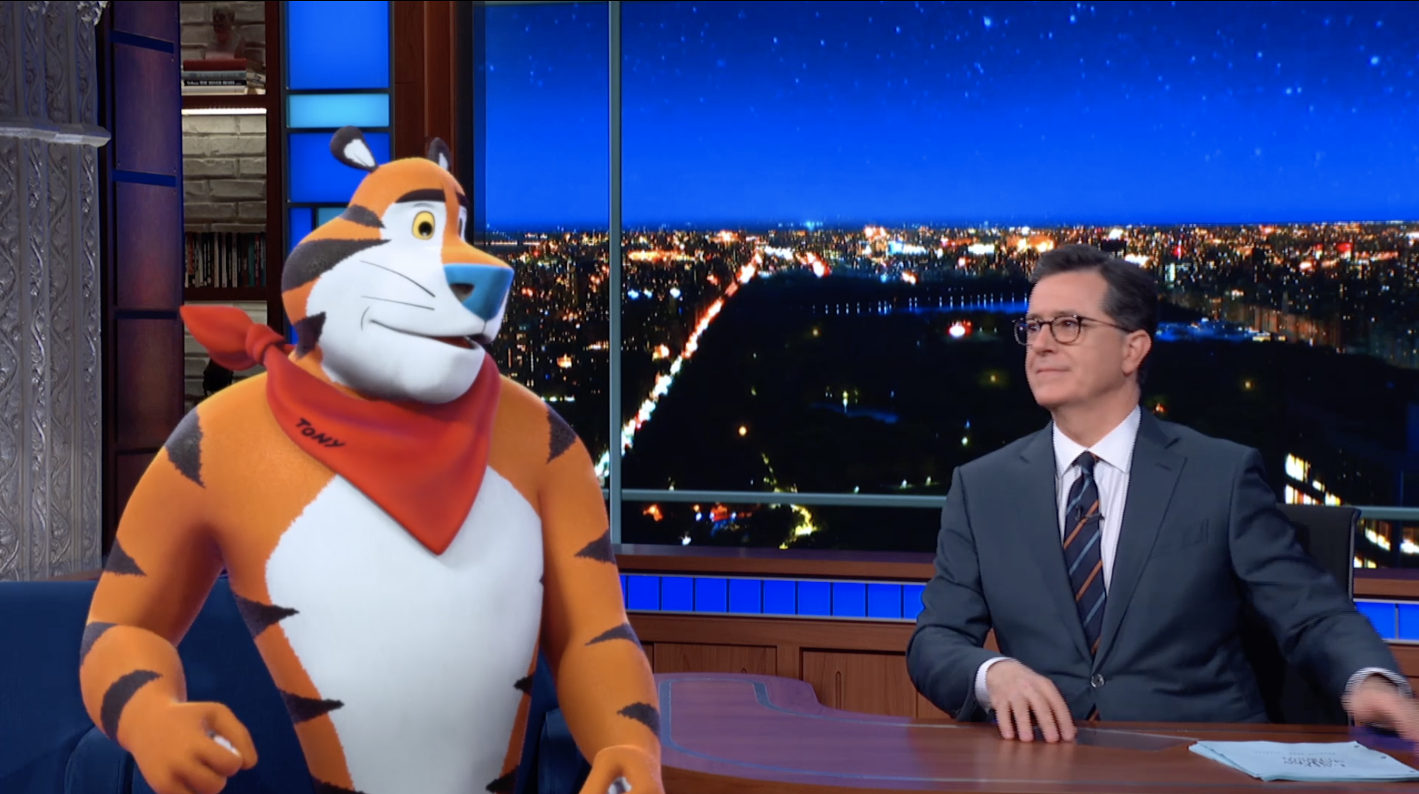 Real-time compositing with Tony the Tiger on The Late Show with Stephen Colbert #missiontiger